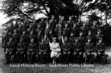 """H.M. the Queen and the officers, lst Battalion the Saskatoon Light Infantry"